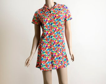Vintage 1970s Romper - Psychedelic Neon Bright Rose Print Geometric Playsuit - Front Zip - Rainbow Print - Small Medium