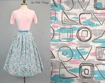 50s Atomic Print Skirt S Vintage Teal & Pink Full Skirt