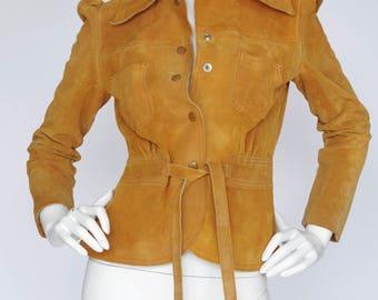 Gassy Jack 1970s Vintage Women's Genuine Suede Puff Sleeve Snap Up Jacket Sz XS