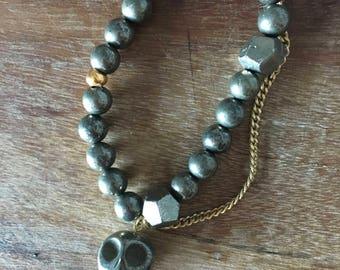 Pyrite Skull Gold Chain Bracelet