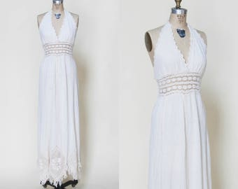 Vintage 1970s Crochet Halter Wedding Dress