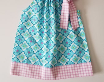 Pillowcase Dress Summer Dress Floral Dress Girls Dresses for Summer Outfit Sundresses Baby Dress Toddler Dress with Gingham Blue and Pink