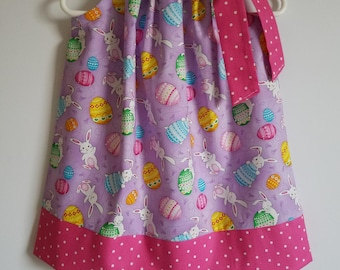 Easter Dresses Pillowcase Dress with Bunnies and Eggs Easter Bunny Dress Girls Dress with Rabbits Spring Dresses Pink and Purple Baby Dress