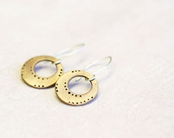 bronze hoop dangle earrings, bronze and sterling silver, glyna
