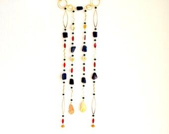 Gold Gemstone Wall Hanging / Wall Art / Dream Catcher / Small Beaded Curtain/ Boheimian Wall Art / Gold Gemstone Art Work