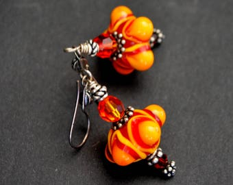 Here Comes the Sun  Lampwork glass and Swarovski Crystal Earrings