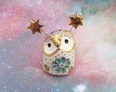 Ceramic Owl Sculpture with Gold Stars