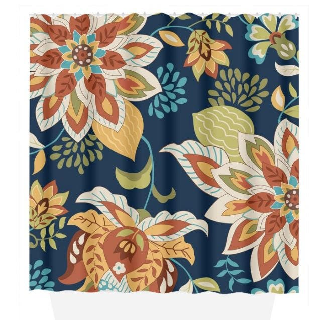 Floral SHOWER CURTAIN Navy Orange Flower Bathroom Custom