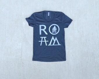 Mountain Hiking Tshirt, Outdoor Gift for Women, Wanderlust Clothing Gift, Travel Gift for Her, Girlfriend Shirt, ROAM T Shirt, Black