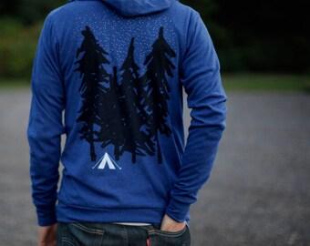 Zip Hoodie for Fall, Girlfriend Gift, Boyfriend Gift, LIGHTWEIGHT Blue Zip Up Hoodie, Unisex Camping Hiking Sweatshirt, BlackbirdSupply