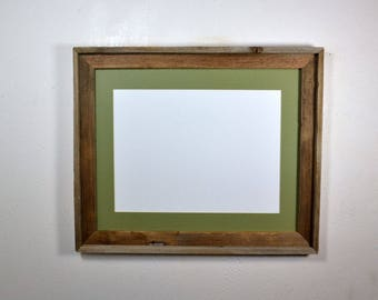 Picture frame reclaimed wood 12x16 sage green mat 16x20 without mat multiple mat colors and mat openings to choose from