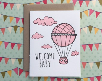 Welcome Baby Balloon - letterpress card