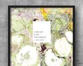 Art Print 8x10 Marble Oprah Winfrey Quote - New Day on the Horizon | Golden Globes | Inspiration