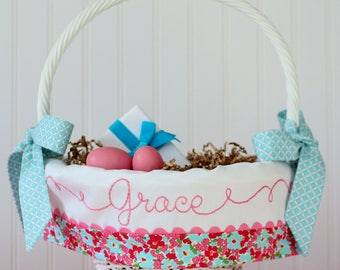 PRE-ORDER 2019 Personalized Name Easter Basket Liner, Baby First Easter Basket, Floral Easter Basket liner fits Pottery Barn Kids Baskets