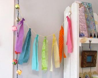 CHAKRA BANNER-Original fabric art-32 inches-color therapy