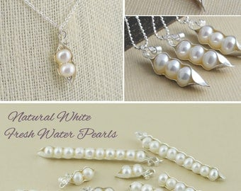 2 peas in a pod, sterling silver, gift for mom, mother of bride, sister of bride, 123456789, 10 freshwater pearls, gift for mom, sister gift