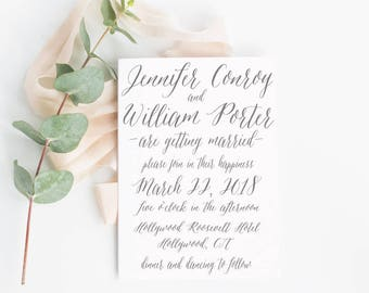 Simple Modern Calligraphy Invitation , Custom Modern Wedding invitations, deposit