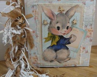"Bunny! Baby Boy ""Baby's book of Firsts"" Keepsake Prim Vintage Sewn Paper Bag Album Junk Journal 6 x 6"