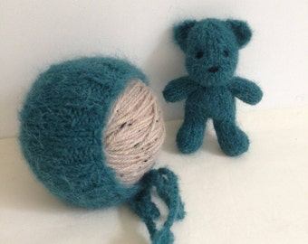 RTS ..... teal newborn bonnet and bear photography prop set