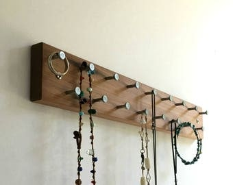 Reclaimed Wood Jewelry Rack, Wall Mounted Necklace, Bracelet and Ring Organizer