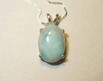 Delicate Blue Larimar Pendant Necklace in Sterling Silver ~ Exotic Natural Opaque Gemstone from Dominican Republic
