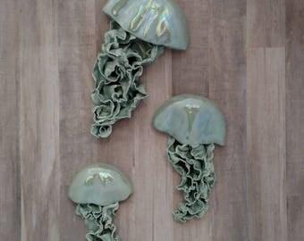 Aura iridescent Jellyfish ceramic wall sculpture. Set of 3 art installation. Large wall art. Sea glass blue bathroom, mermaid wall decor.