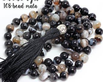 Sardonyx Necklace, Hand-Knotted, 108 Bead Mala