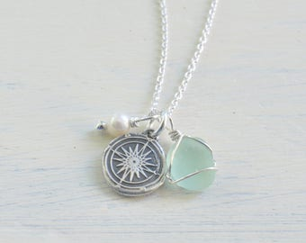 compass wax seal, sea glass charm necklace trio - follow your inner compass - wax seal jewelry gift - eco friendly sea glass jewelry - gift