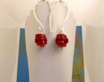 Earrings- Coral and Carnelian Stacked Hieshi Dangles with Sterling Wire Wrap and Oversize Hook Earwires