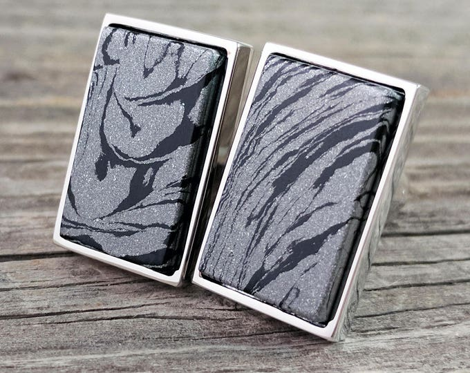 Featured listing image: Cufflinks - Damascus Steel M3 Metal Cufflinks in Rectangular Silver Bezel