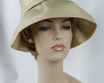 1960s Vintage Hat Gold Silk Deep Crown Floppy Wide Brim by Betmar Sz 21 1/2