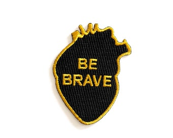 Be Brave Heart, Iron on patch, Heart Patch, Black and Gold Embroidered Patch, Sew on Patch, Rock Cakes, Brighton