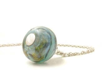 Blue Grey Handmade Glass Necklace | Stormy Muted Blue Lampwork Glass Pendant Necklace | Sterling Silver UK Jewellery