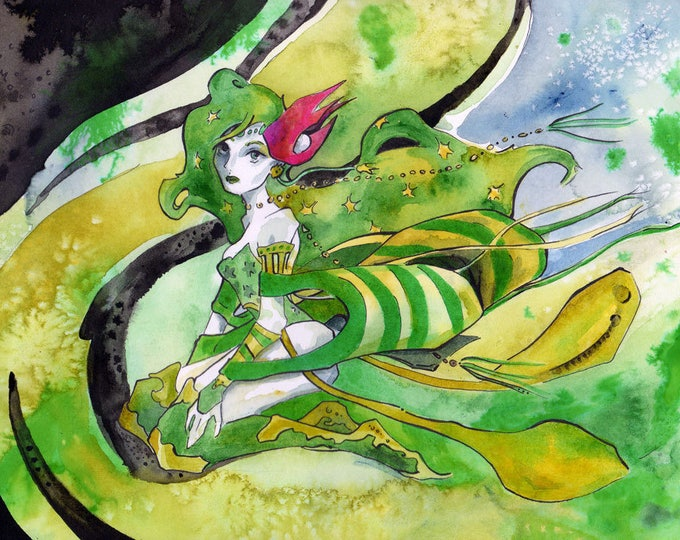 Featured listing image: Final Fantasy Wall Decor - Print of Watercolor and Ink Painting of Rydia - Video Game Fan Art by Jen Tracy
