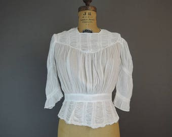Antique Shirred Cotton Blouse, fits 32 inch bust, 1900s Edwardian, some issues