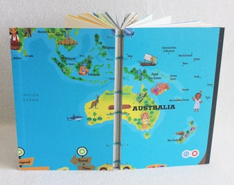 Australia Travel Journal Recycled Our World Game Board Book Upcycled Board Game by PrairiePeasant