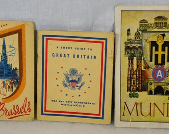 Lot of 3 Soldier Information Pamphlets from the U.S. Army -Guide to Great Britain, Munich and Brussels - Post WWIIf