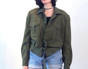 Karthika, 80s French Army Jacket M, French Military Jacket, French Army Surplus, Olive Drab Army Jacket, French Ike Jacket, Vintage Grunge