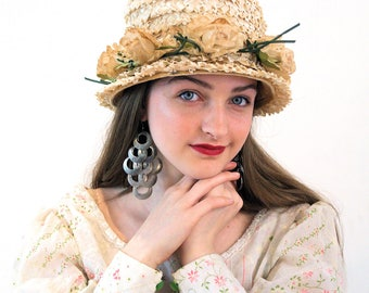 Vintage Straw Hat with Roses, Tan Raffia Hat, Beige Flower Hat, Garden Party Hat, 60s Summer Hat, Women's Straw Hat, Edwardian Style Hat