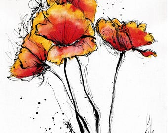 poppy art PRINT - select 8x6in or 8x12in or 16x12in A5 A4 A3