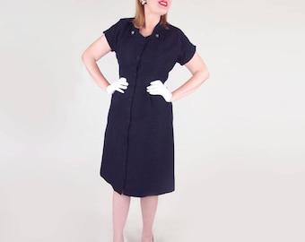 50s Black Textured Nylon Front Button Sheath Dress L