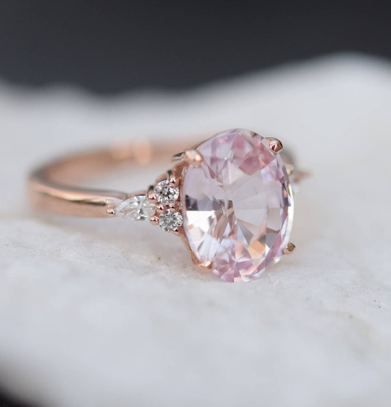 Blush sapphire engagement ring. Light peach pink sapphire 3.45ct oval diamond ring 14k Rose gold. Campari Engagement ring by  Eidelprecious