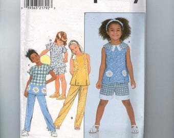 Kids Sewing Pattern Simplicity 8200 Girls Top Shorts and Pants Size 5 6 7 8  UNCUT