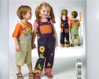 Kids Sewing Pattern Kwik Sew K3948 3948 Childs Boys Girls Overalls Embellished Monster Pocket Flowers Applique Size T1 T2 T3 T4 UNCUT