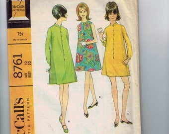 1960s Vintage Sewing Pattern McCalls 8761 Misses A Line Mod Dress with Stand Up Collar Size 12 Bust 32 60s 1967