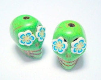 Fun Flower Eyes in Small Green Day of The Dead Sugar Skull Beads-12mm