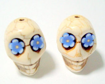 Blue Flower Eyes Ivory Howlite Sugar Skull Beads