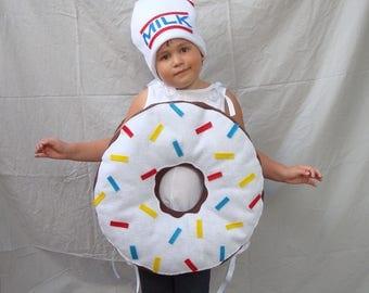 Kids Doughnut Costume Donut Costume Icing Sprinkles Girls Costume Boys Costume Food Costume Breakfast Toddler Baby Infant Adult Teen Dunkin