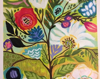 Flower Tree 1 Folk Floral Painting on 18 x 24 Paper by Karen Fields