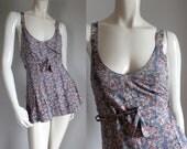 sale --- Vintage 1930s Floral Cotton Swimsuit (xs)